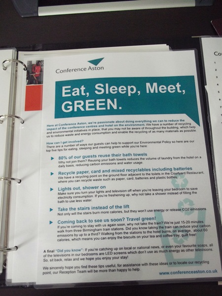 green policy at Conference Aston